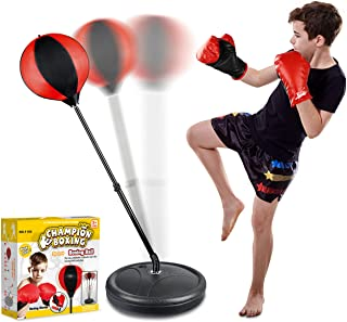 Punching Bag Set for Kids Included Punching Ball with Stand,Boxing Training Gloves,Hand Pump and Adjustable Height Stand,B...