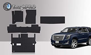 ToughPRO Floor Mats Set + 3rd Row + Cargo Compatible with Cadillac Escalade - 2nd Row Bench Seating - All Weather - Heavy Duty - Black Rubber - (Made in USA) - 2015, 2016, 2017, 2018, 2019, 2020