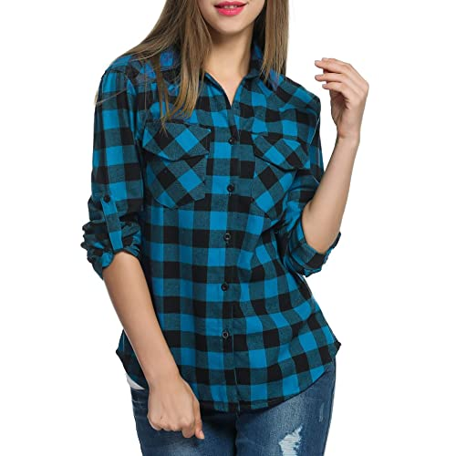 cbb831f3d Meaneor Women Roll up Sleeve Split V-Neck Plaid Long Shirts Loose Casual  Tops