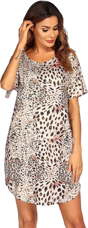 Ekouaer Women's Bikini Shirt Cover Up Short Sleeve Cute Bikini Print Cover-Up Baggy T Shirt Dress Fun Wear