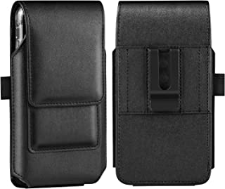 BECPLT iPhone Xs Holster Case, iPhone 11 Pro Belt Case, Premium Leather Holster Case with Belt Clip Cell Phone Carrying Pouch for Apple iPhone X/10 Built in ID Card Holder (Fit w/Thin Case on) (Black)