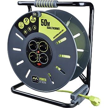 color negro AS Schwabe 10319 50 m, di/ámetro de 285 mm, H05VV-F 3G1,5, IP20 en interiores Carrete alargador de cable