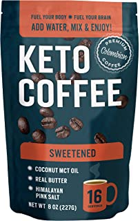 360 Nutrition Keto Coffee Instant 8 oz | Sweetened | 16 Servings per bag | MCT Coconut Oil, Organic Grass-Fed Butter, Hima...