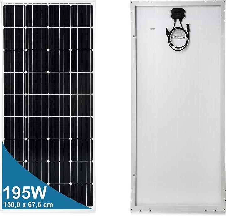 Pannello solare monocristallino 195 watt 12 volt 8029563001950