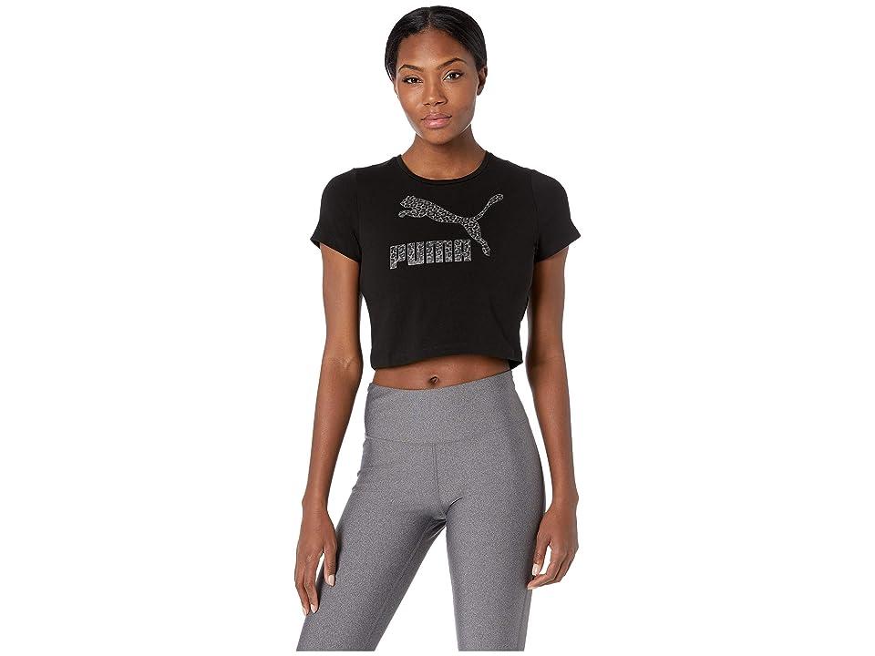 PUMA Wild Pack Cropped Tee (Cotton Black/Black) Women