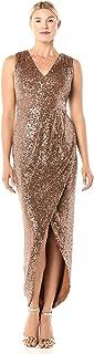 CALVIN KLEIN Womens CD9B1H39 Sleeveless V-Neck Gown with Pleated Waist Sleeveless Dress - Gold