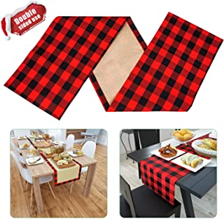 VIGLT Christmas Reversible Red and Black Checkered Table Runners,Cotton Burlap Buffalo Plaid Table Runner for Christmas Table Decorations, 14 x 72 Inch