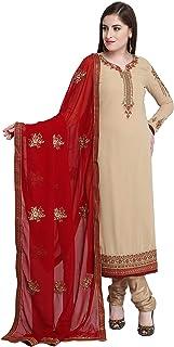 MONIKA SILK MILL Women's Georgette Straight Cut Suit with Heavy Dupatta (LT 2205A, Tan Beige, Free Size)