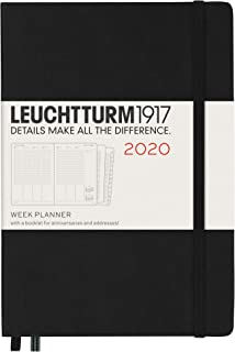 Leuchtturm1917 Medium A5 2020 Week Planner with ExtraBookletfor Anniversaries and Addresses- 12 Months, 144 Pages, Black