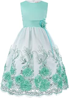 GRACE KARIN Girls' Tulle Lace Appliques Flower Girl Dress with Belt Ankle Length