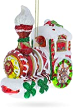 BestPysanky Candy Cane Train Glass Christmas Ornament