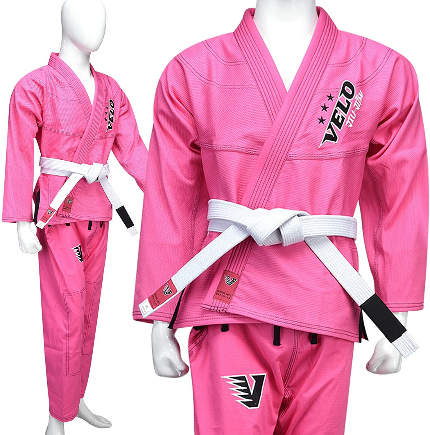 PINK NEW BLACK TIGER FIGHT GEAR BJJ  KIMONOS SUITS WITH FREE BELT