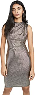 BLACK HALO Womens Gold Textured Solid Sleeveless Crew Neck Above The Knee Body Con Party Dress AU Size:4