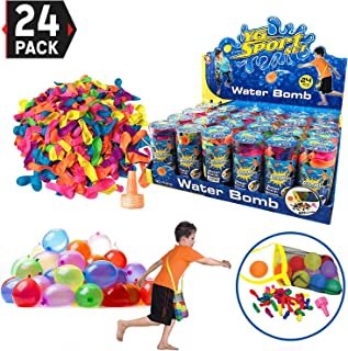 24 Pack - Refill Kits of Latex Water Balloons Bomb - Summer Water Balloon Fight, Party Favors, Sports Fun for Kids and Adults - Multicolored with Nozzle and Carry Bag (1200 Count)