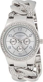 Akribos XXIV Women's Silver Multifunction Crystal Jewelry Watch - Sunburst Dial With Day and Date Subdials - Luminous Hand...