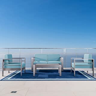 Christopher Knight Home Crested Bay Outdoor 4 Piece Silver Aluminum Framed Chat Set with Light Teal and White Corded Water Resistant Cushions