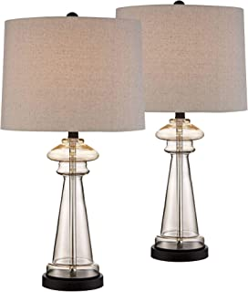 Dalia Cottage Table Lamps Set of 2 Champagne Gold Glass Taupe Drum Shade for Living Room Family Bedroom Bedside Nightstand - 360 Lighting