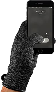 Mujjo Double Layered Touchscreen Winter Gloves | All-Hand & Finger Smartphone Texting, Anti-Slip Grip | Leather Cuffs, Magnetic Snap Closure (Large)