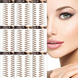 9 Sheets 4DHair-Like Authentic Eyebrows stickers,Waterproof Imitation Eyebrows Transfer Stickers,Eyebrows Tattoo Instant Eyebrow Stickers,Long Lasting Natural Eyebrow Makeup Tool for Women(Brown)