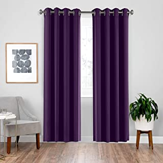 downluxe Blackout Curtains for Bedroom, Grommet Thermal Curtains 84 Inch Length, Royal Purple Curtains, 52x84, 2 Panels