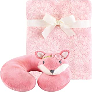 Hudson Baby 2 Piece Neck Pillow and Blanket Set, Miss Fox, One Size