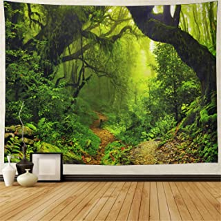 Misty Forest Tapestry Magical Nature Green Tree Wall Tapestry Rainforest Landscape Tapestry Wall Hanging Bohemian Psychedelic Tapestry for Bedroom Living Room Dorm