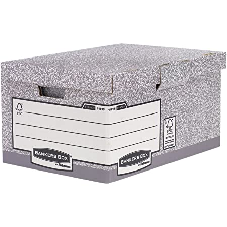 Fellowes 1181501 Caisse pour Archives Flip Top Maxi Banker Box System à Montage Automatique - Gris (Lot de 10)