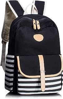 Leaper Thickened Canvas School Backpack for Girls Laptop Bag Handbag Black