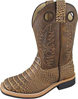 Smoky Mountain Boys' Crazy Horse Faux Gator Western Boot Square Toe