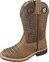 Smoky Children's Gator Embroidered Crazy Horse Western Cowboy Boots - Brown