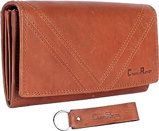 Chunkyrayan Damen Portemonnaie Echtleder XXL RFID Schutz inklusive Leder Schlüsselanhänger GB-8 Cognac 2