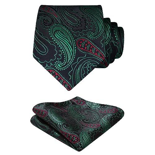 546622ba9dd0 HISDERN Paisley Floral Tie Woven Classic Men's Necktie & Pocket Square Set