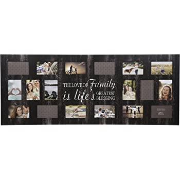 """Gallery Solutions Rustic Wood Plank Family Wall Hanging Picture, Holds 18 4"""" x 6"""" Photos Collage Frame"""