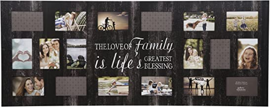 """Gallery Solutions 16FW1375E Rustic Wood Plank Family Wall Hanging Picture, Holds 18 4"""" x 6"""" Photos Collage Frame"""