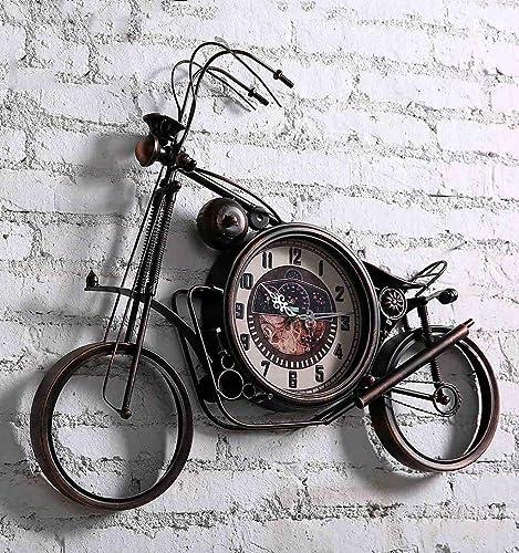 ATR Horloge Murale de Moto rétro, Horloge Moderne en Fer Faite Main de personnalité créatrice à la Main, décorée pour Le Restaurant Bar