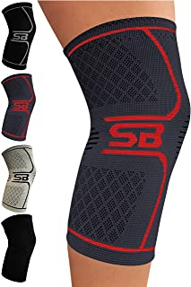 SB SOX Compression Knee Brace - Great Support That Stays in Place - Perfect for Recovery, Crossfit, Everyday Use - Best Treatment for Pain Relief, Meniscus Tear, Arthritis (Charcoal/Red, Large)