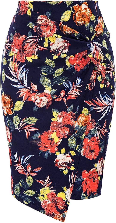 iCODOD Women Asymmetric Hem Floral Pencil Skirts Bodycon Elastic High Waist Wrap Front Casual Knee Length Elegant Slim