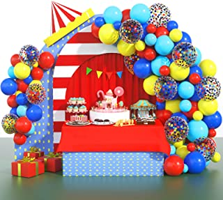 Circus Party Supplies Balloons Arch Kit - 80 Pack Latex Balloons Confetti Balloon Garland Strip Set for Baby Shower, Paw B...