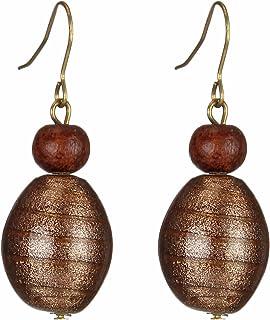 DCA Shiny Brown Glass Women Earrings (2051)