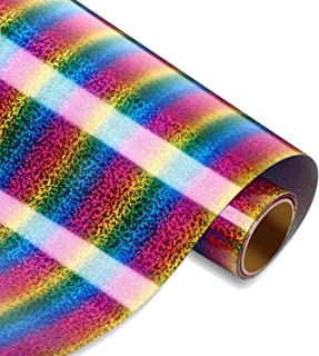 Glitter Heat Transfer Vinyl Rainbow Heat Transfer Vinyl 12 Inch by 5 Feet Iron on HTV Roll for DIY T-Shirts, Caps, Pillows...