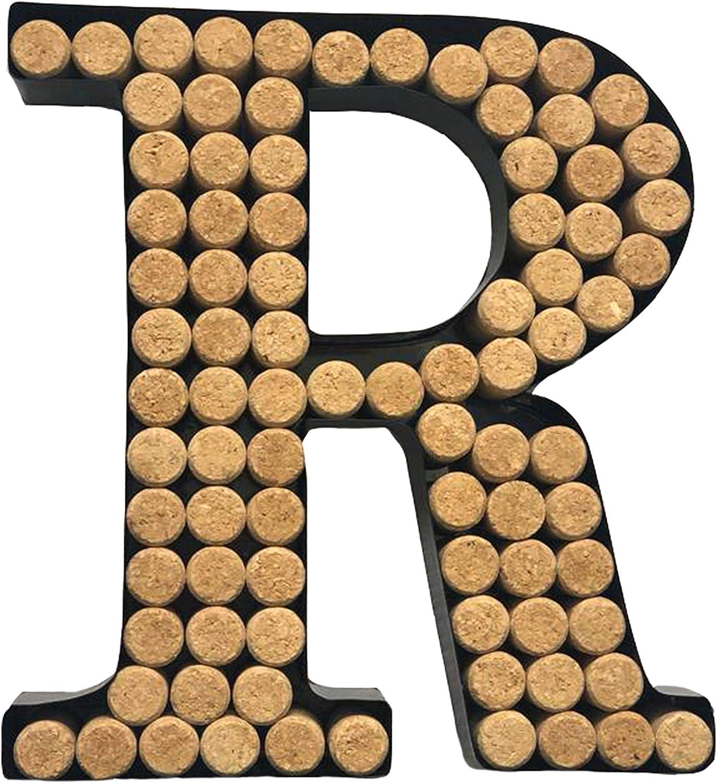 Decomil Wine Cork Holder (A-Z) (Letter R) | Decorative Wine Letters Cork Holder (R) | Wall Art Cork Holder Decor (R)