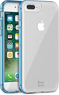 iLuv Durable Dual Material Protective Case with Hard Plastic Clear Back, Soft TPU Frame, Ultra-thin Lightweight Design, Raised Lip on Front, and Access to All Ports/Controls for iPhone 7 Plus (Blue)