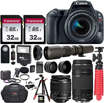 $738 Get Canon EOS Rebel SL2 DSLR Camera with EF-S 18-55mm f/3.5-5.6 is II+ EF 75-300mm f/4-5.6 III Dual Lens Kit + 500mm Preset f/8 Telephoto Lens + 0.43x Wide Angle + 2.2X Pro Bundle