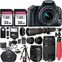 Canon EOS Rebel SL2 DSLR Camera with EF-S 18-55mm f/3.5-5.6 is II+ EF 75-300mm f/4-5.6 III Dual Lens Kit + 500mm Preset f/8 Telephoto Lens + 0.43x Wide Angle + 2.2X Pro Bundle