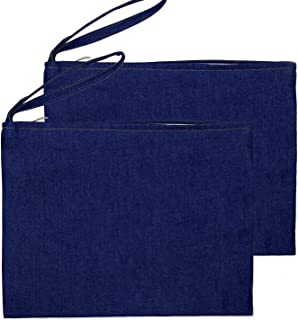 Yingkor Blue Jean Multi-Purpose Zipper Cosmetic Makeup Pouch Coin Purse Cellphone Purse Pencil Station Case Bag with Cotton Lining 20x28cm Pack-2