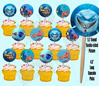 Party Over Here Finding Nemo Cupcake Picks Double-Sided Images Cake Topper -12, Dory, Marlin, Nigel