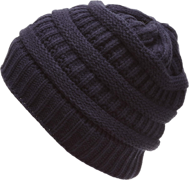 MIRMARU Women's Soft Warm Stretch Ribbed Knit Winter Skull Cap Beanie Hat with Soft Sherpa Lining
