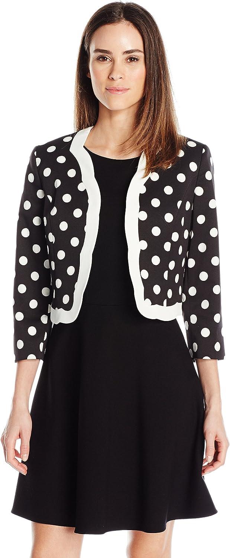 Kasper Womens Classic Dot Printed Flyaway Scalloped Jacket Jacket