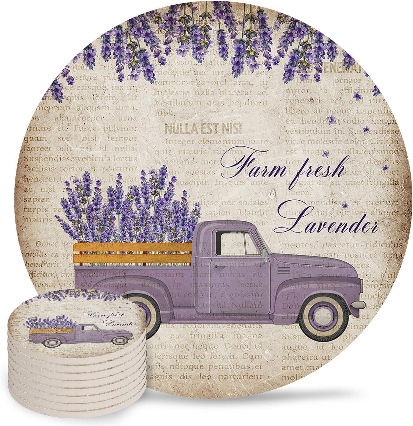 Farm trend rank Oklahoma City Mall Fresh Lavender Coasters for Inch 4 Drink Ceramic Absorbent