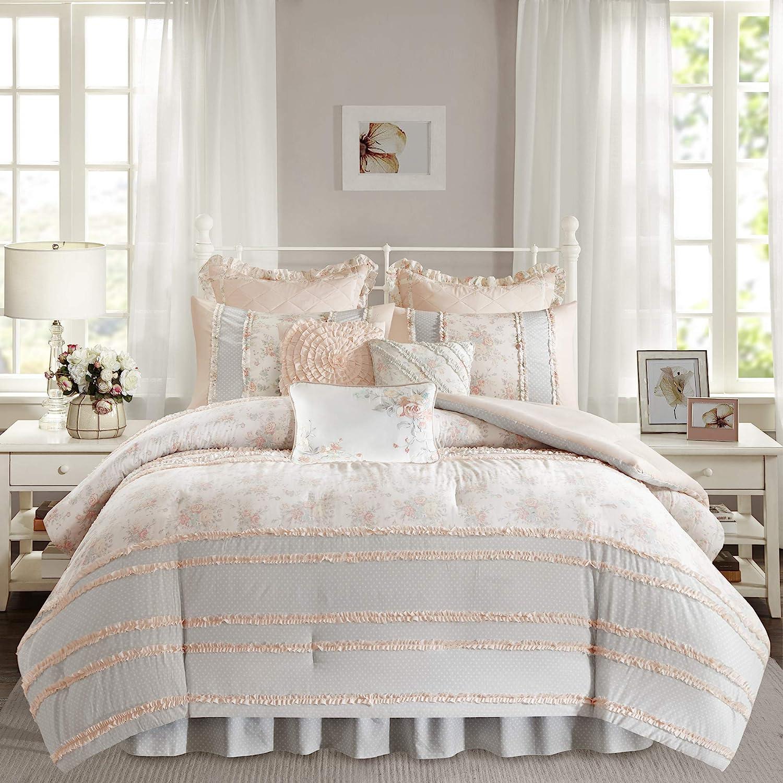 "Madison Park 100% Cotton Comforter Set-Modern Cottage Design All Season Down Alternative Bedding, Matching Shams, Bedskirt, Decorative Pillows, King(104""x92""), Serendipity, Coral 9 Piece"